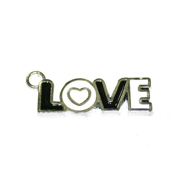1pce x 29*9mm Rhodium plated LOVE in black/white enamel charm - SD03 - CHE1041